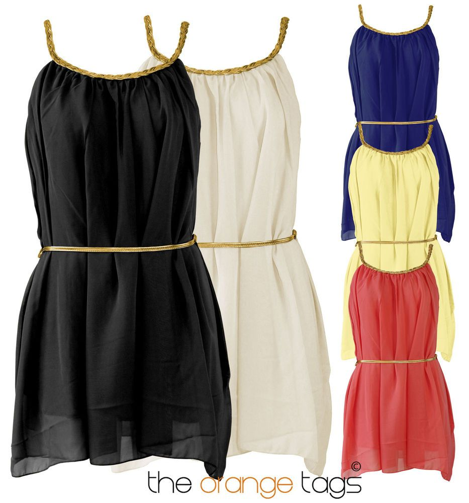 Black dress ebay - Details About Ladies Greek Gladiator Style Gold Belted Grecian Chiffon Womens Mini Dress