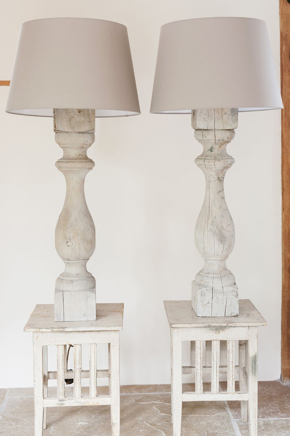 Pair Tall Antique French Wooden Baer Table Lamps Decorative Antiques Uk