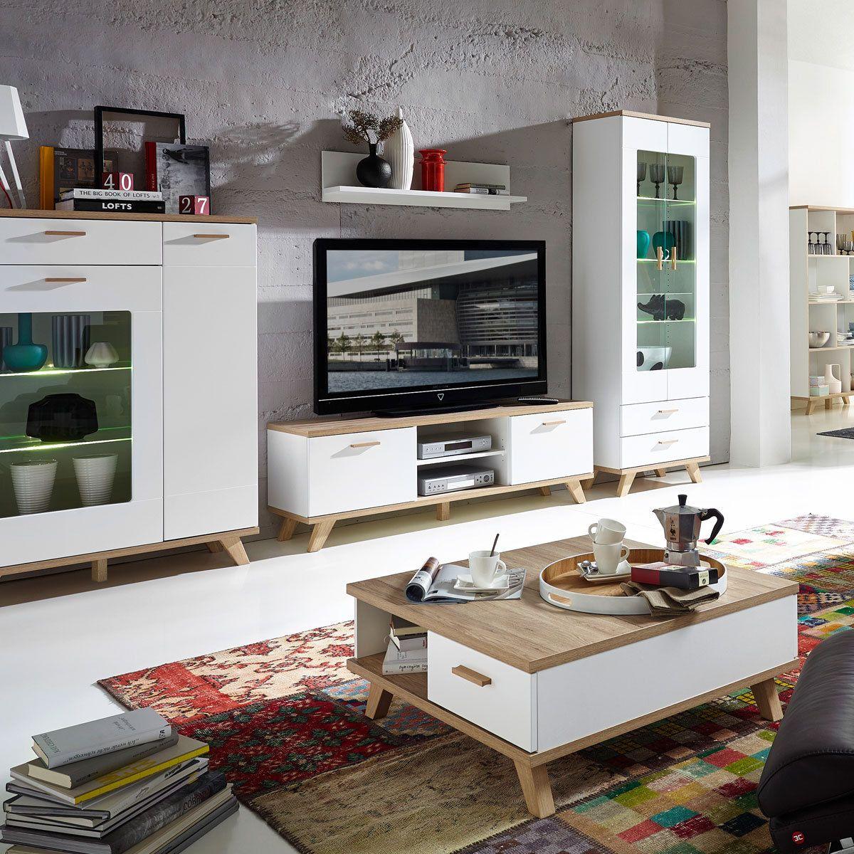 Meuble Tv Oslo 144 Cm Ch Ne Blanc Meuble Tv Tv Et Chene Blanc # Meuble Tv Chene Blanc Scandinave