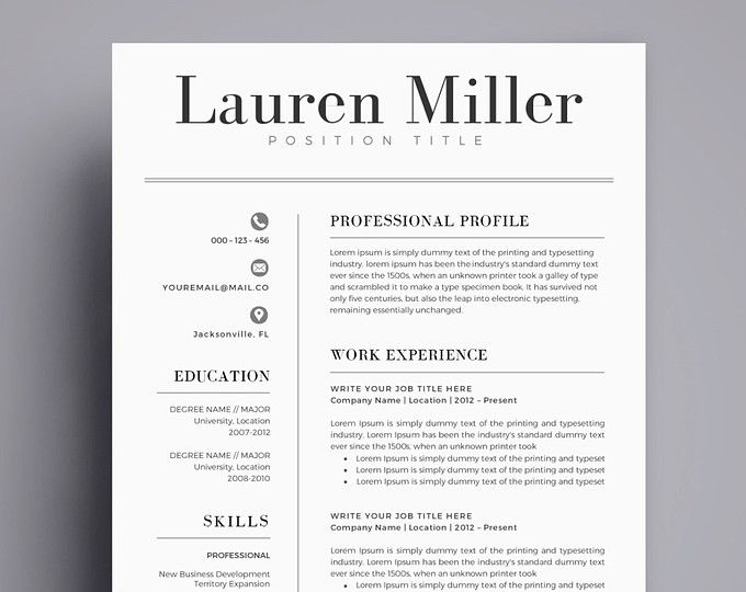 CV, Resume Template Word, 1 Page Resume Template, Modern Resume ...