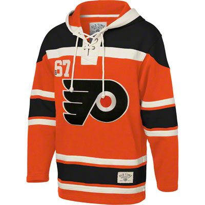 1750f2ef3 Philadelphia Flyers Orange Old Time Hockey Lace Up Jersey Hooded Sweatshirt