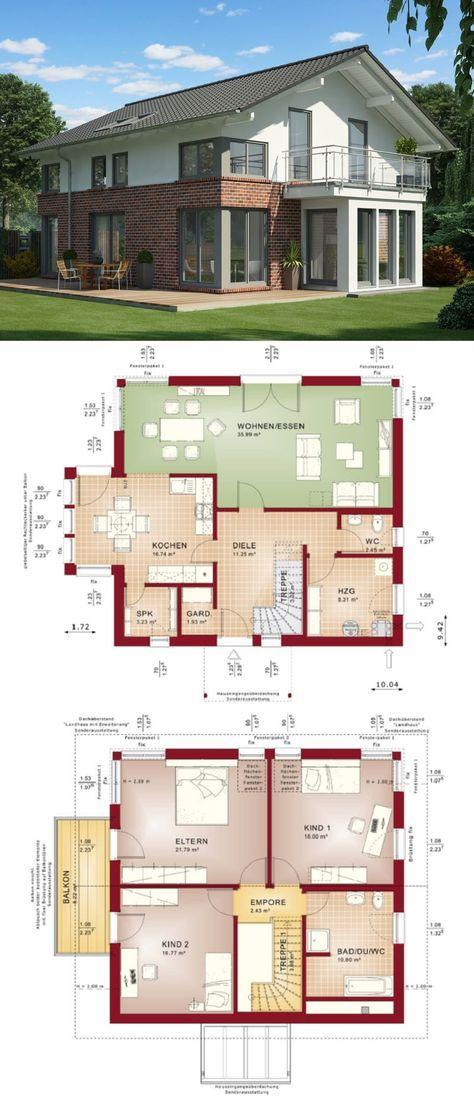 Einfamilienhaus Architektur Modern Mit Klinker Fassade U0026 Satteldach   Haus  Bauen Grundriss Fertighaus Evolution 154 V3