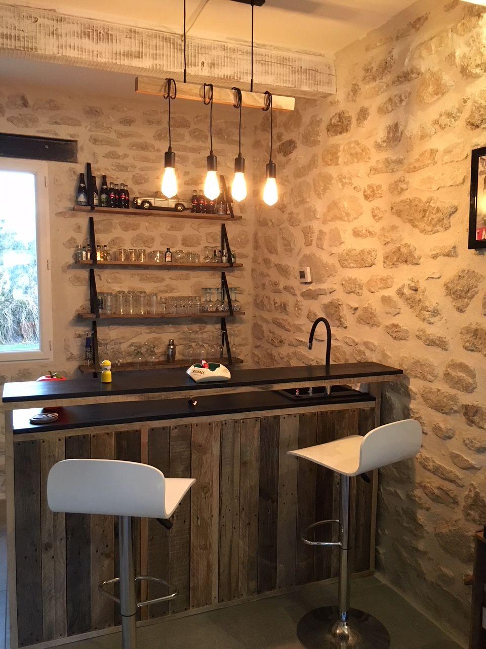 Amenagement De Bar Professionnel comptoir / bar sur mesure en bois brut | mobilier de salon
