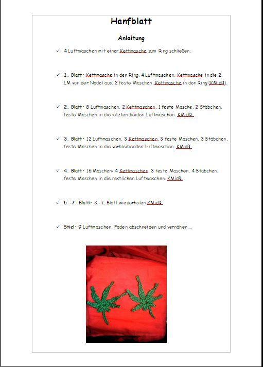Meine Anleitung Für Ein Gehäkeltes Hanfblatt Amigurumi Pinterest