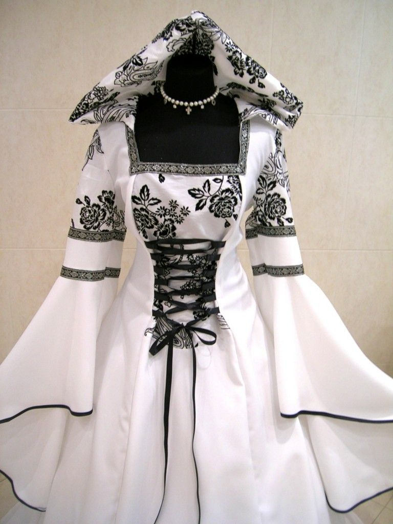Medieval wedding dress gothic costume l-xl-xxl 16-18-20 white ...