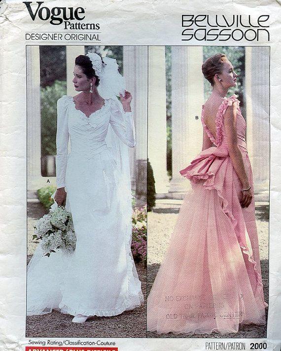 Vogue Wedding Gown Pattern Designer Belleville Sassoon Misses Dress ...