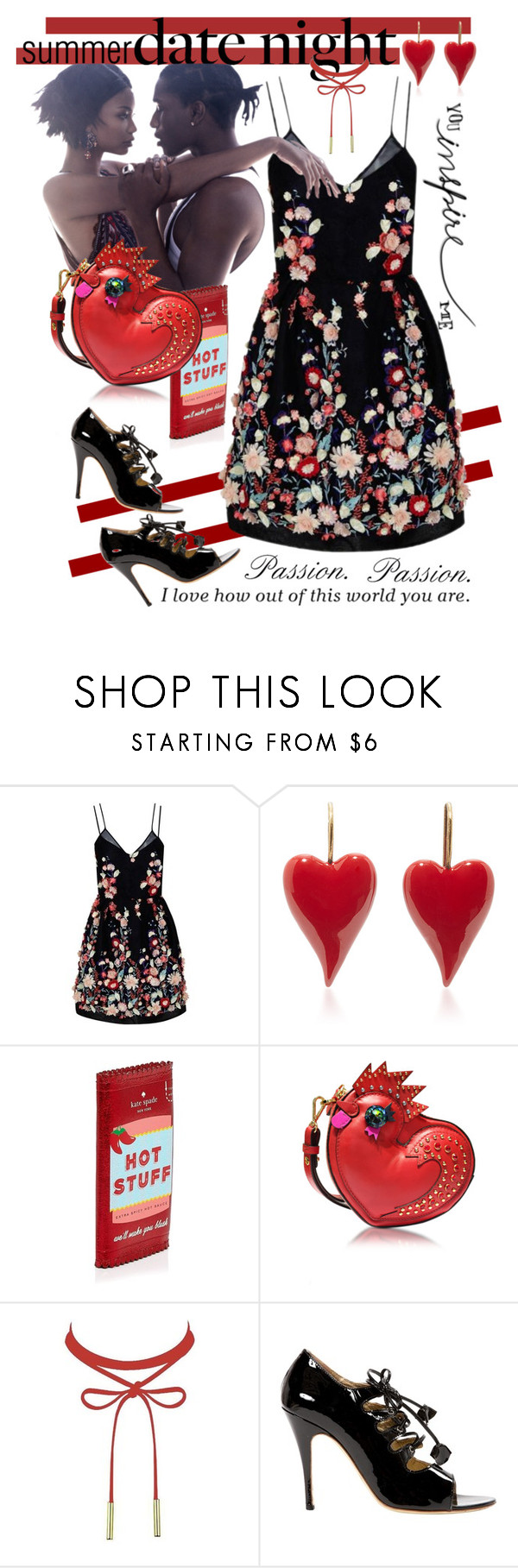 """""""Summer Date Night"""" by giovanina-001 ❤ liked on Polyvore featuring The 2nd Skin Co., Kate Spade, MCM, Vivienne Westwood and summerdatenight"""
