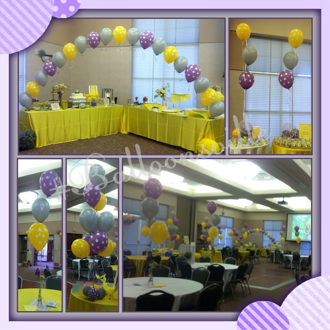 Polkadot theme balloon decor lavender yellow polkadot for Balloon string decorations