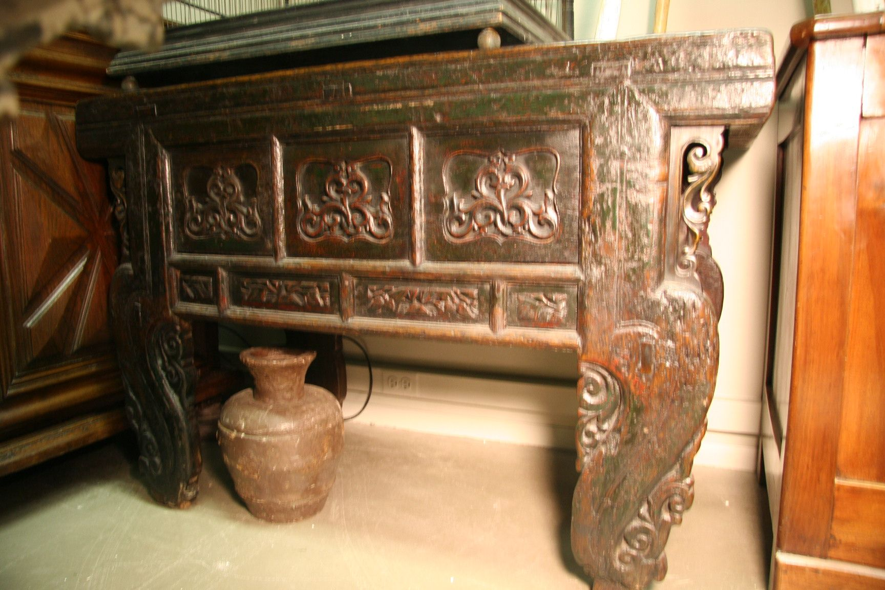 Heavily carved antique chinese altar table chest console 1800 heavily carved antique chinese alter table with gorgeous patina from shanxi china and geotapseo Gallery