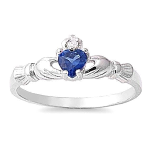 CloseoutWarehouse Floral Heart Simulated Sapphire Petite Ring Sterling Silver 925