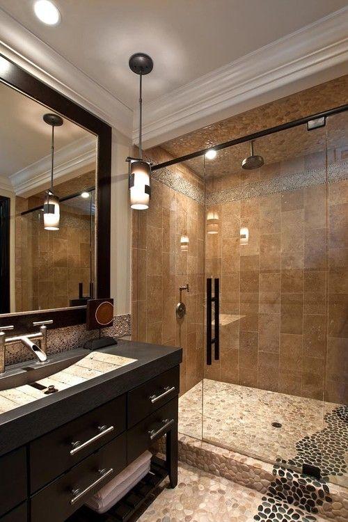 Large Tan Black Pebble Tile Shower And
