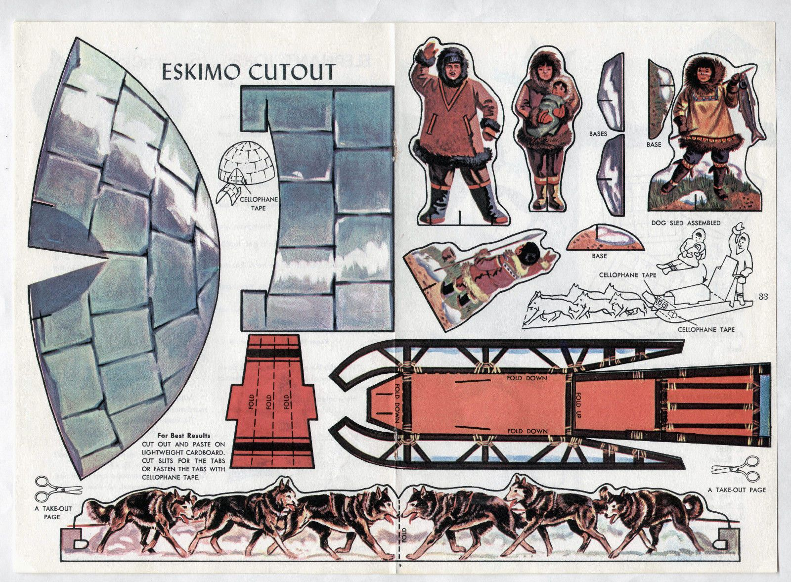 vintage eskimo family paper dolls page 1965 uncut igloo dog sled