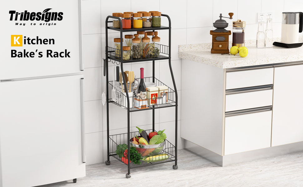 Amazon Com Tribesigns 4 Tier Kitchen Baker S Rack Rolling
