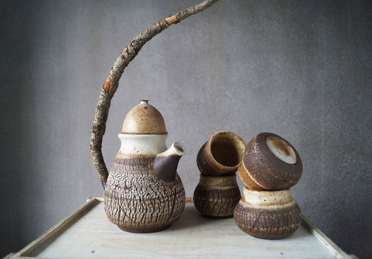 Handmade Ceramic Teapot Set With Real Wood Twig Handle Wheel Etsy Ceramic Teapot Set Handmade Ceramics Tea Pots