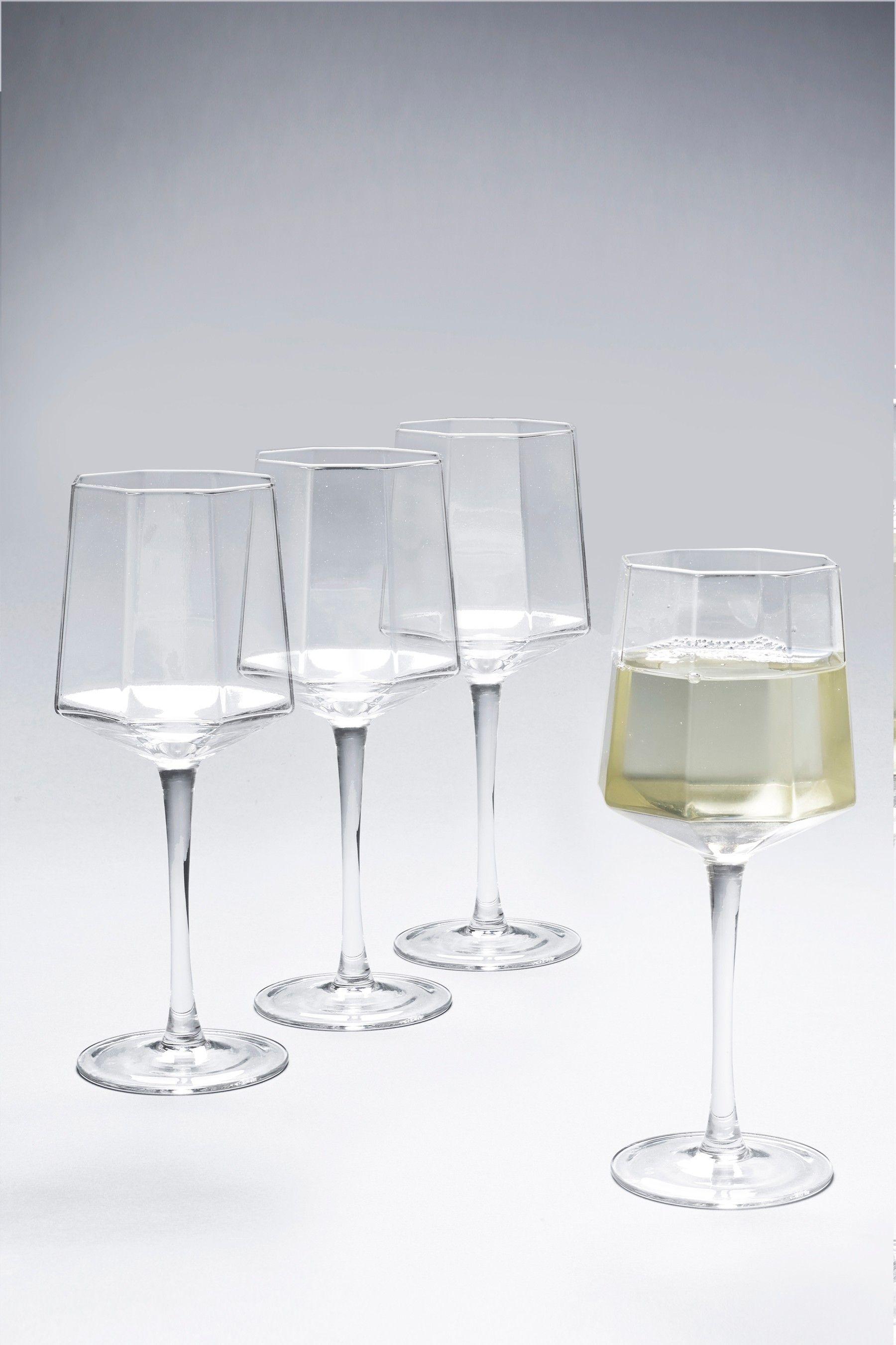 Next Angular Set of 4 Wine Glasses Clear | Stuff to buy