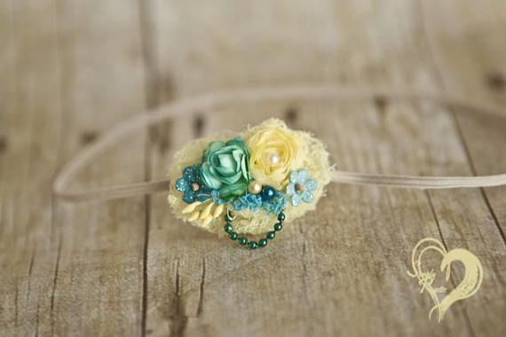 Spring Inspirations Soft Yellow n Teal Baby Headband  for