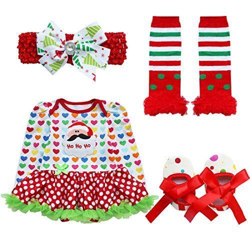 baby girls christmas skirt bodysuit headband leg warmmer shoes set 0 3 months