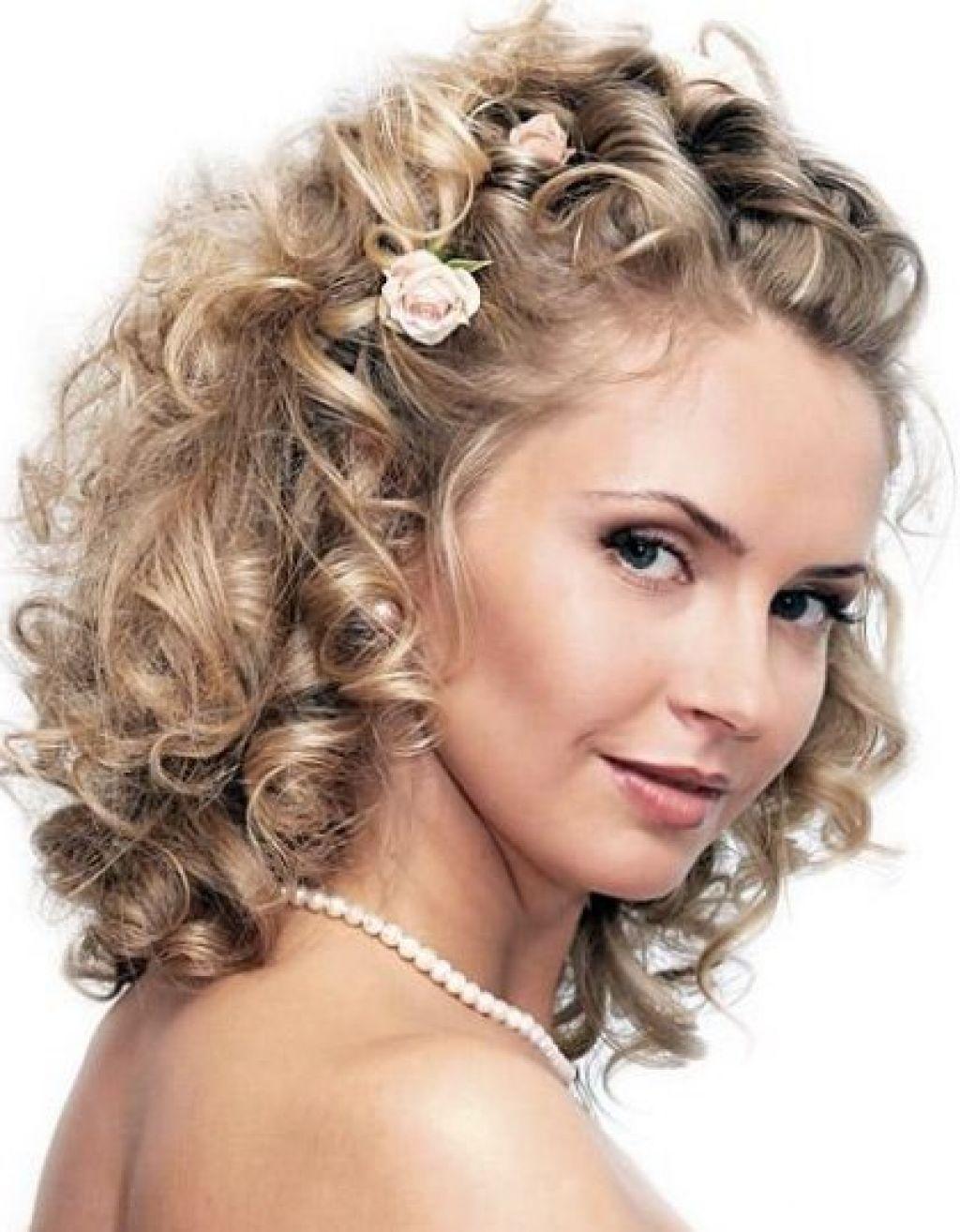 women curly wedding hairstyles for medium length hair