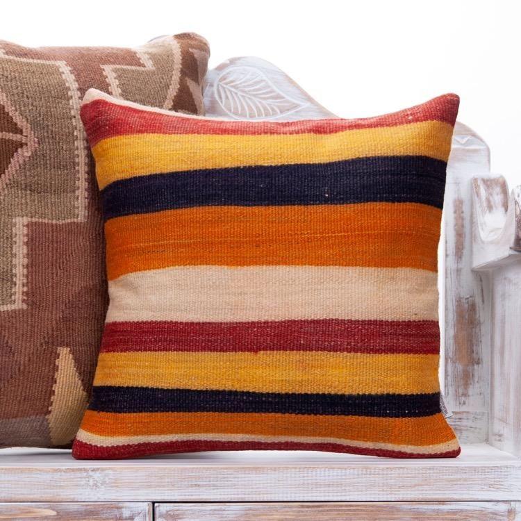 Striped Colorful Kilim Rug Pillow 18x18