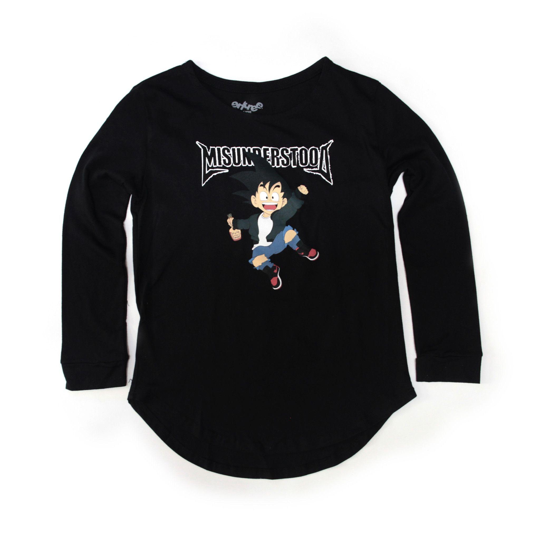 04606348 Entree Kids Goku Scallop Black Long Sleeve Shirt | Products