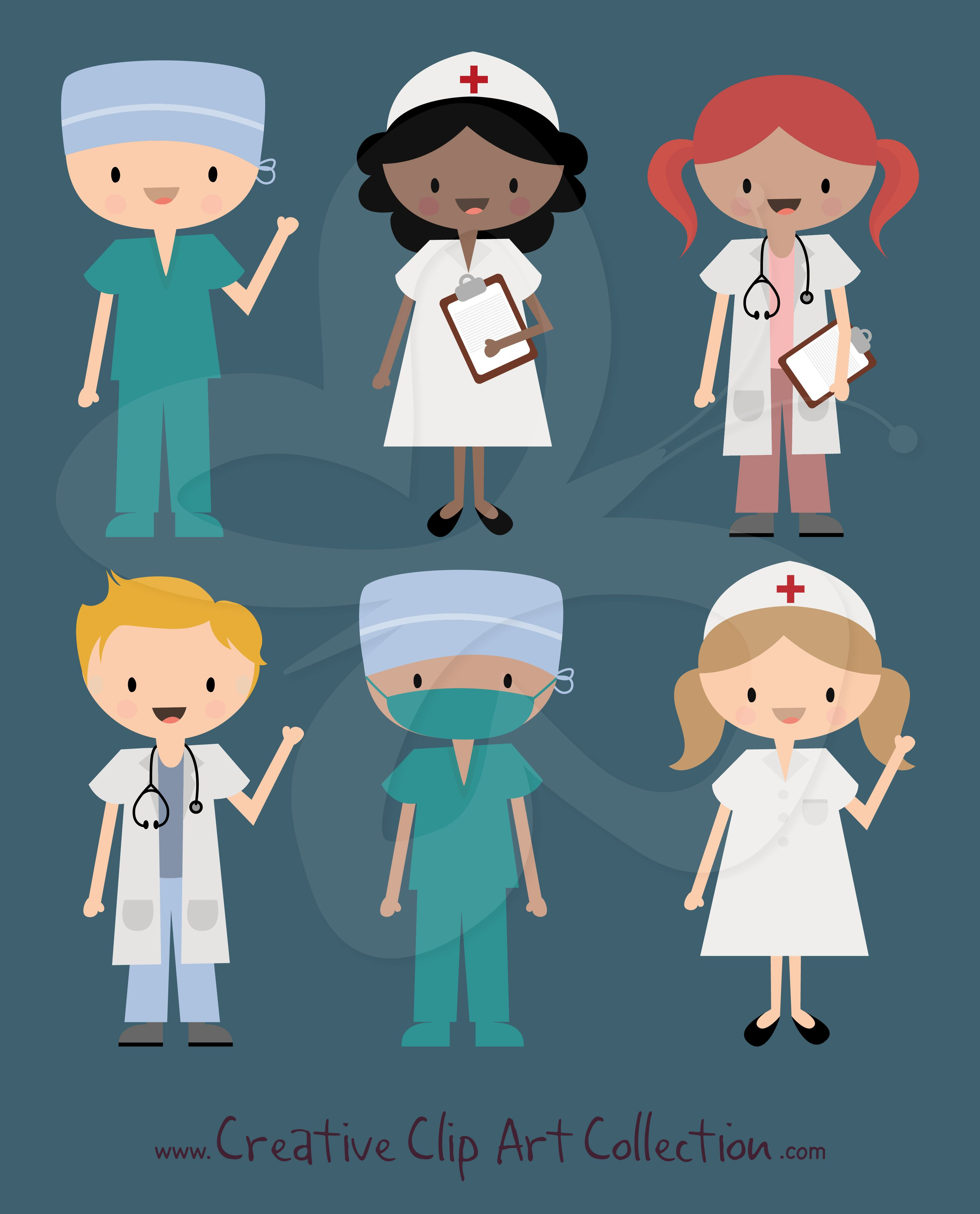 A cute Doctor, Nurse and Surgeon in Scrubs clipart set ...