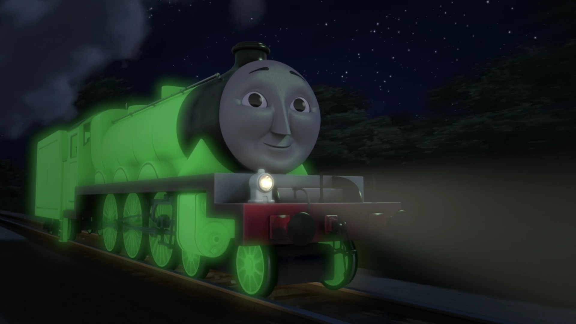 Henry Glowing In The Dark When He Was Mistakenly Painted With Glow In The Dark Paint Thomas And Friends Thomas The Tank Engine Cars Movie