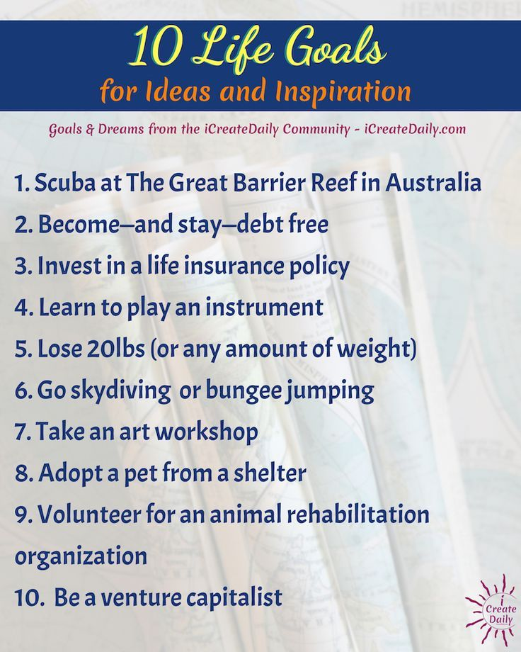 100+ Life Goals List for Ideas and Inspiration | Goals, Habits & Productivity | in 2020 | New ...