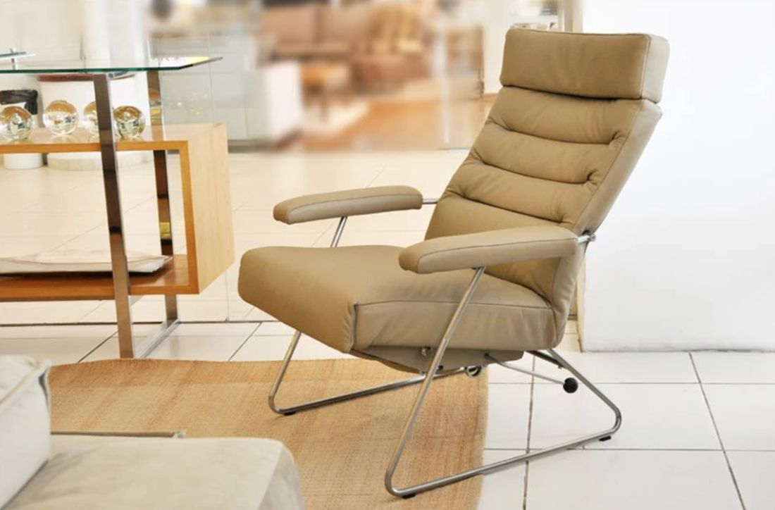 Lafer Beige Leather Recliner Check