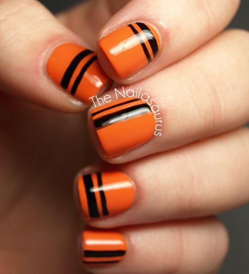 Orange And Black Stripes Nail Art For