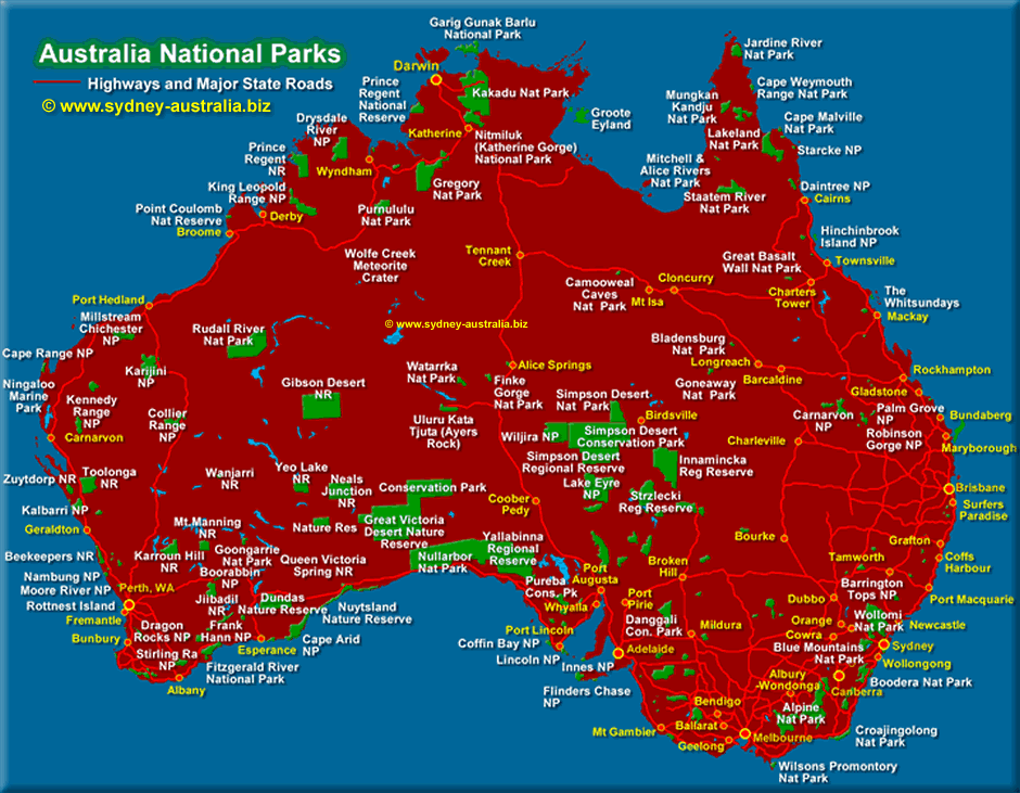 Map Of Australia Kakadu National Park.National Parks In Australia Click To See The National Highways Map