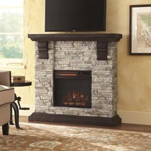 Home Decorators Collection Highland 40 In Wall Mount Media Console Electric Fireplace Gray 103034 At The Depot