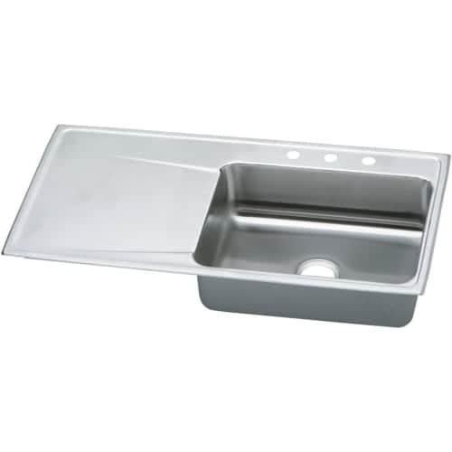elkay ilr4322r gourmet lustertone stainless steel 43 x 22   single right basin top mount kitchen sink with 7 5 8   depth  no faucet holes   five holes      elkay ilr4322r gourmet lustertone stainless steel 43 x 22   single      rh   pinterest com