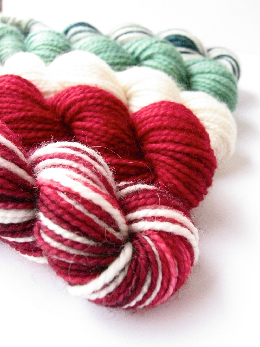Hand Dyed Yarn - Superwash Merino, Classic Sock Yarn, Holiday Mini Skein Stocking Stuffer - Preorder.. $15.00, via Etsy.