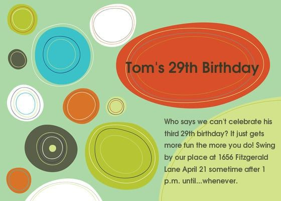 29th Birthday Invitation Wording