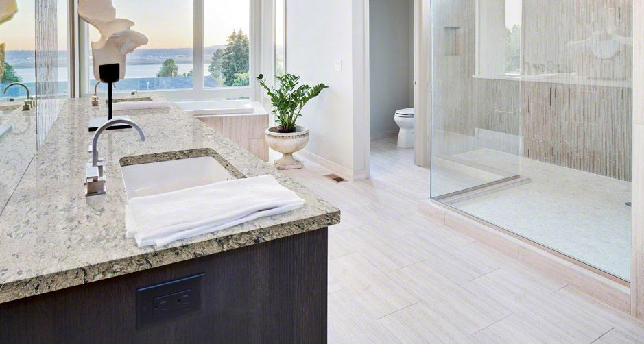 Bathroom Pacific Salt Quartz Countertop Room Scene