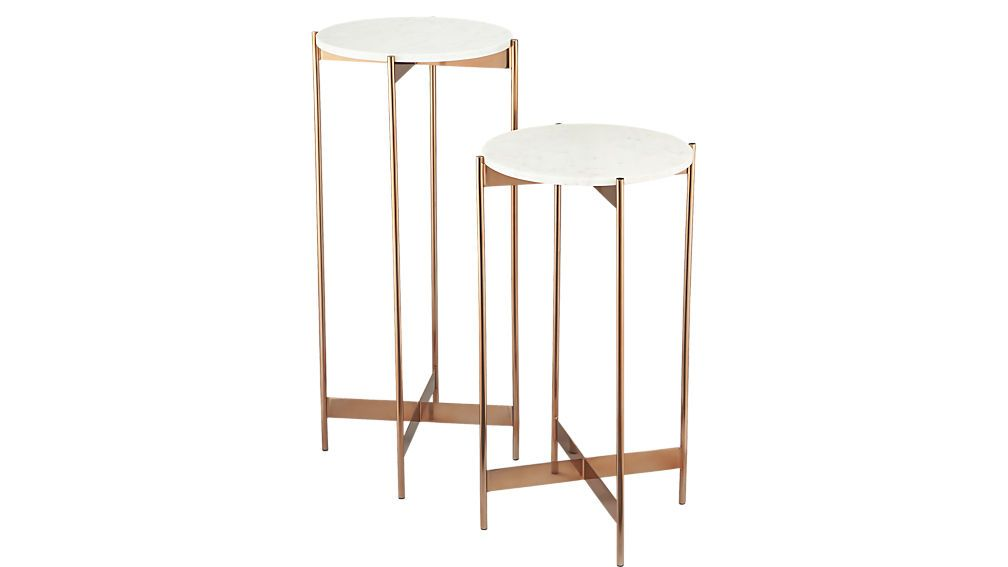Marble Rose Gold Pedestal Tables White Marble Floats