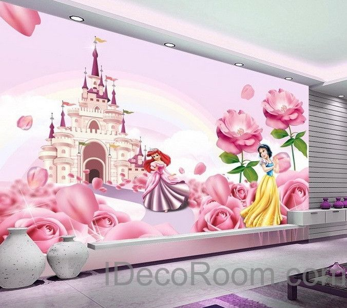 3d disney princess castle wallpaper princess ariel snow for Disney princess wall mural stickers