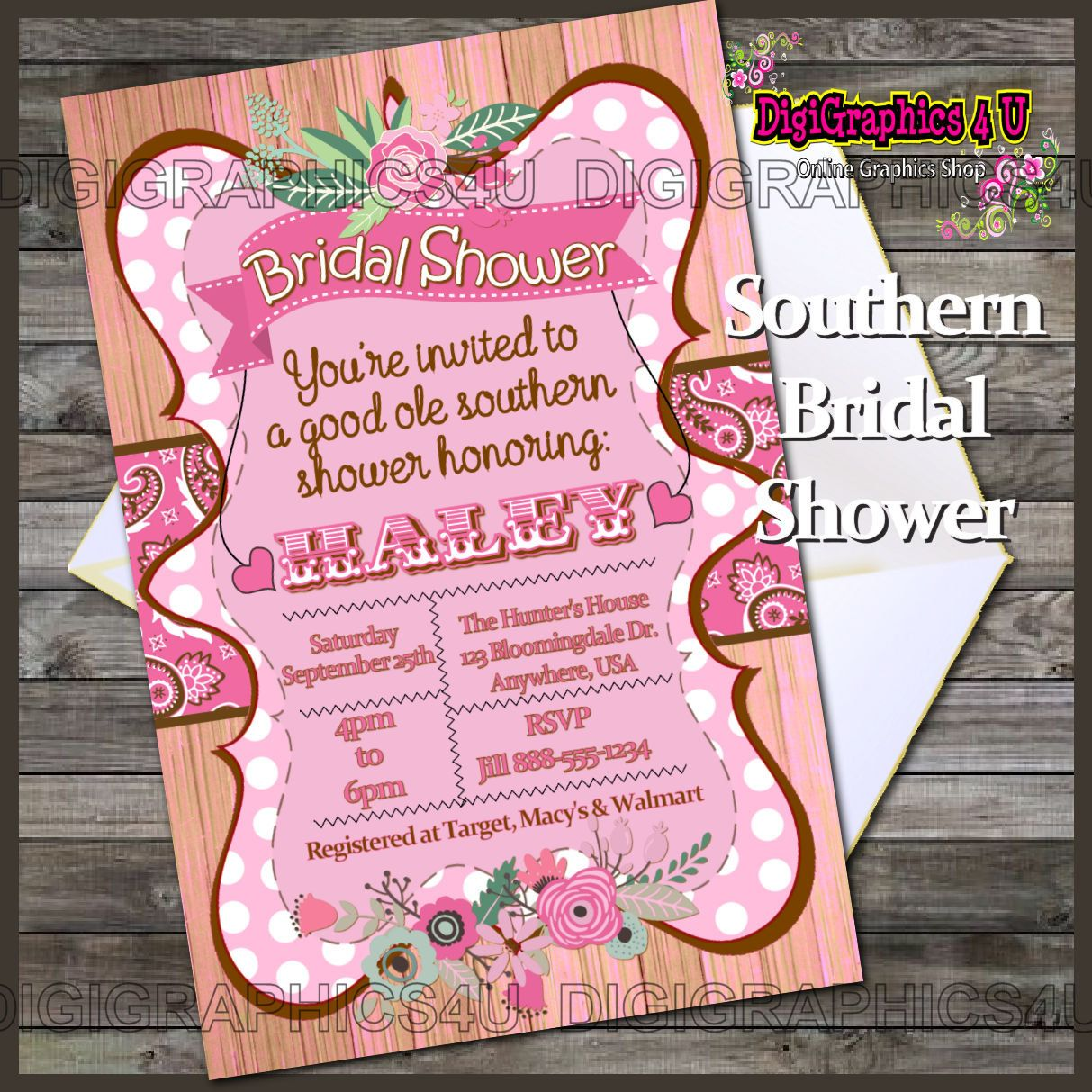 Country Chic, Shabby Chic or Rustic Bridal or Wedding Shower ...