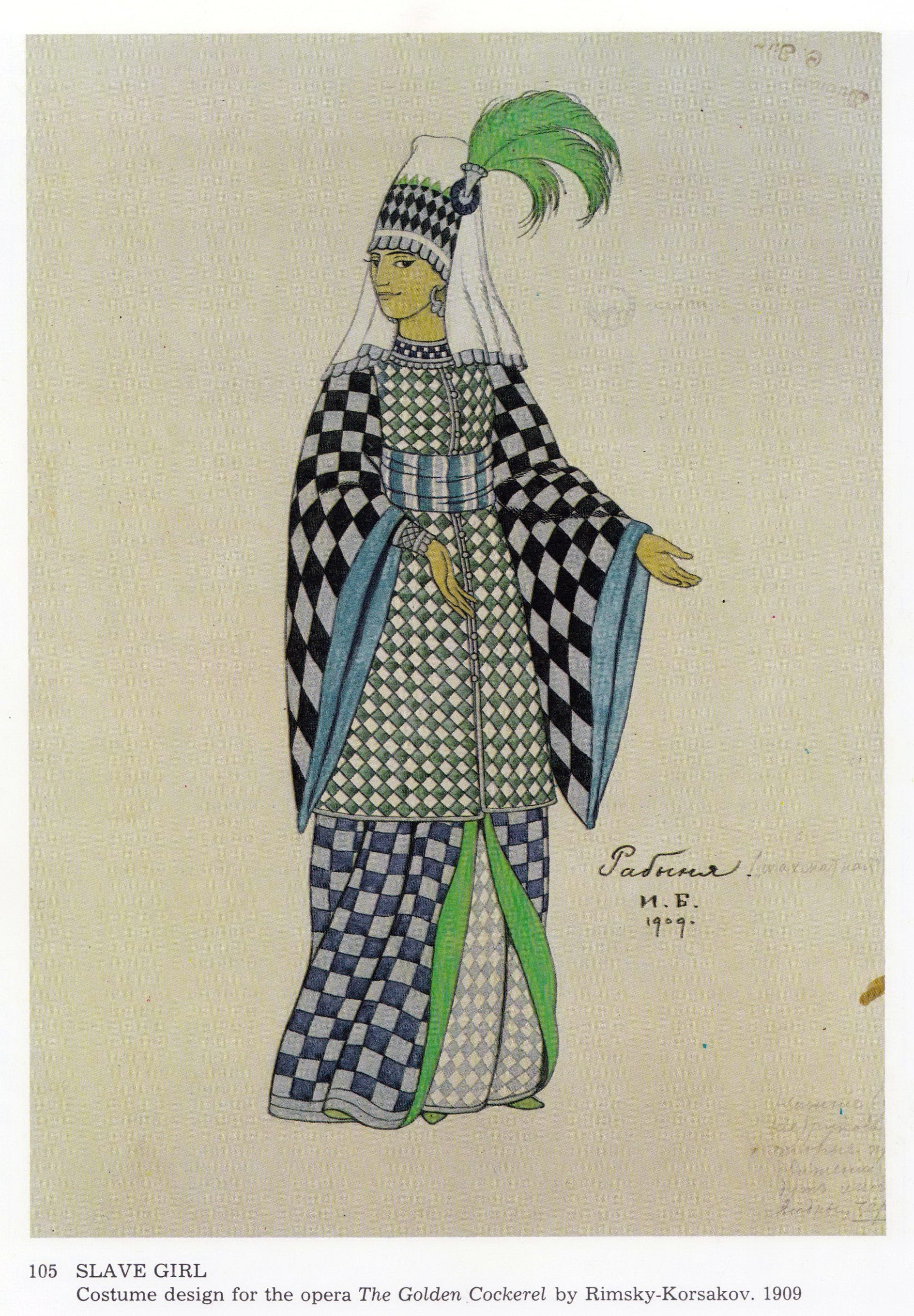 SLAVE GIRL. Costume design for the opera 'The Golden Cockerel' by Rimsky-Korsakov. 1909.