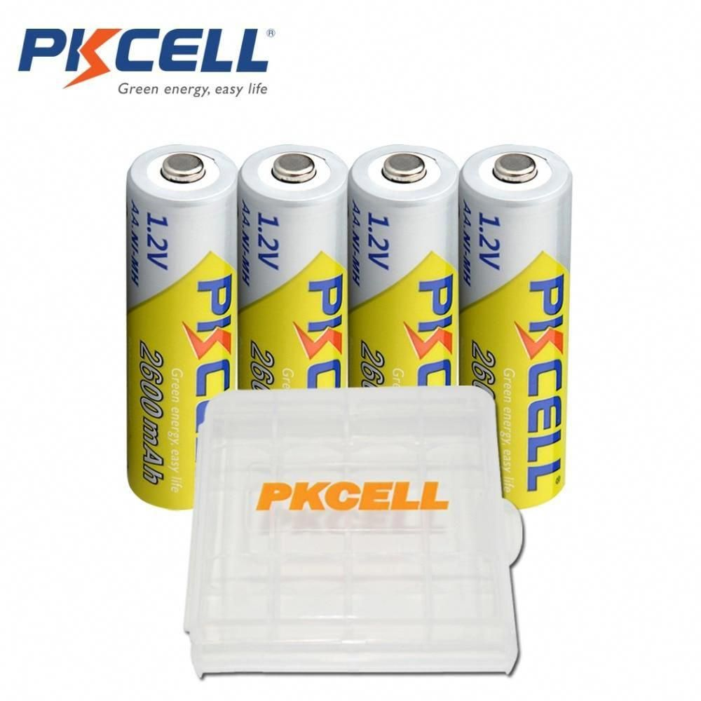 4 X Pkcell Aa Batteries Ni Mh 2600mah 1 2v Aa Rechargeable Battery Batteries 2a Bateria Baterias With 1 Battery Hold C Rechargeable Batteries Battery Batteries