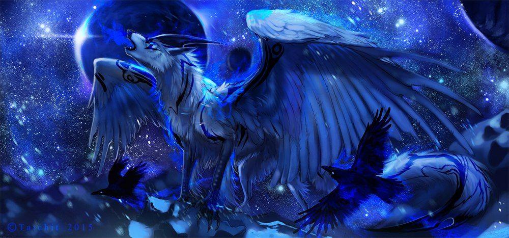 Красивые картинки космическая лиса с демоническими крыльями