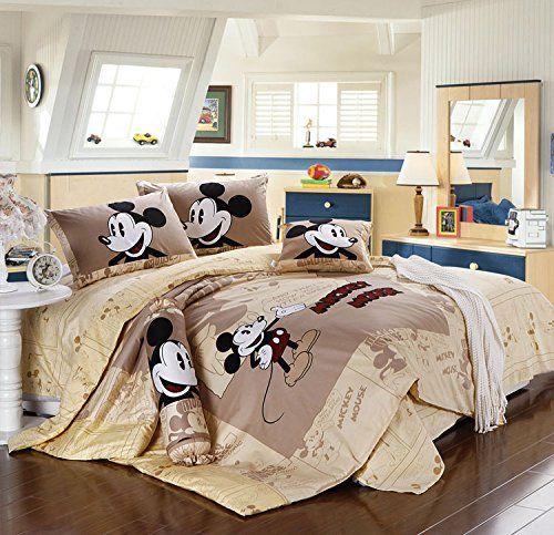 Sisbay Mickey Mouse Kids Cartoon Bedding Boys Girls Disney Cartoon Print Duvet Cover Queen Size Bed Fitted Mickey Mouse Bedding Bedding Set Queen Bedding Sets