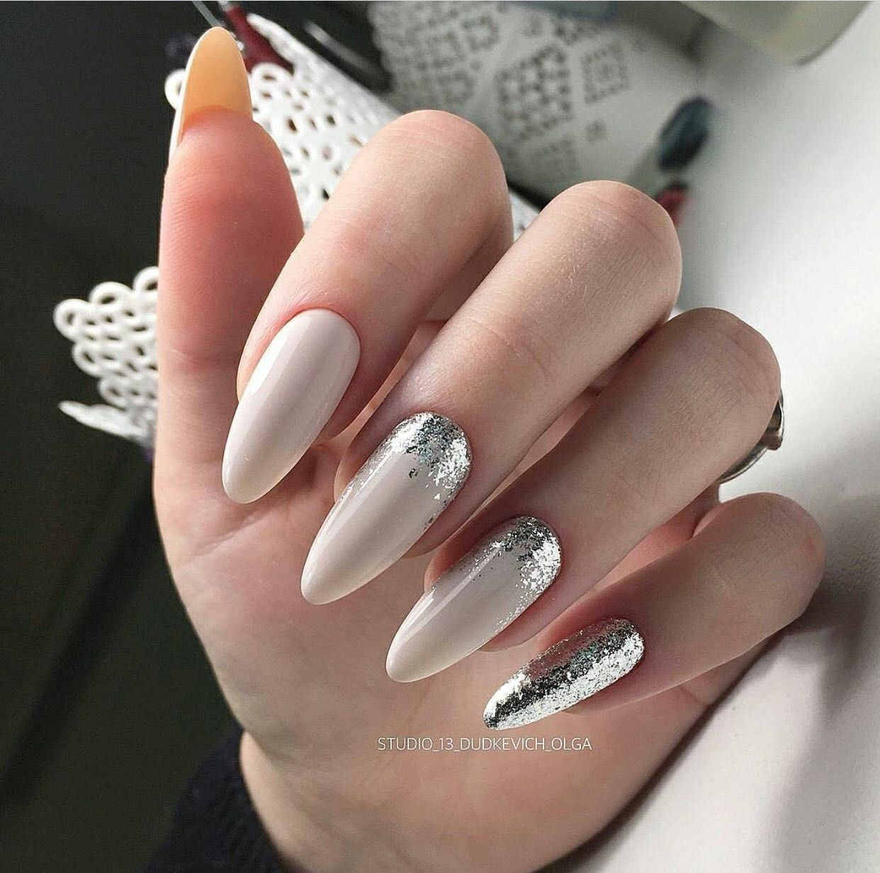White and glitter nail art