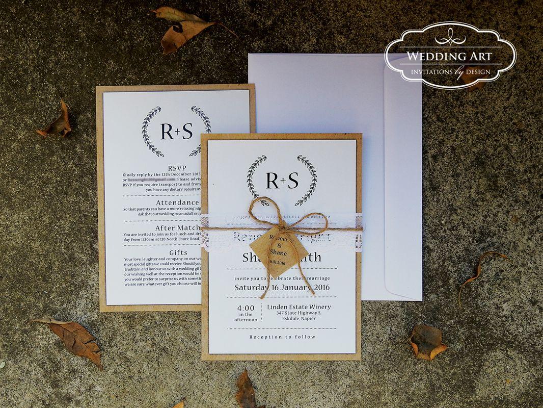 Rustic wedding invitations with lace twine | Wedding Invitations ...