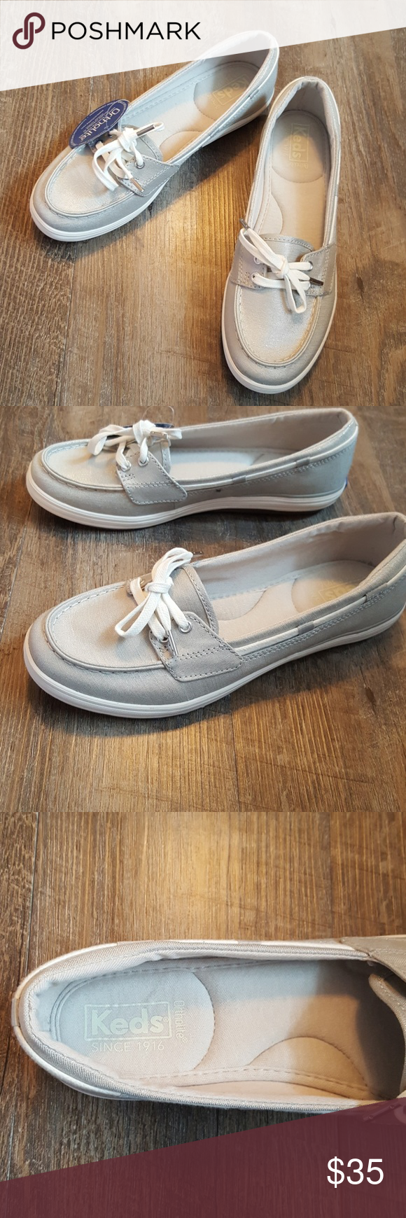 22c2b97ead Keds Glimmer Gray/Silver Boat Shoes Size 7 1/2 New Keds Glimmer Boat Shoe  Gray/Silver Size: 7 1/2 Ortholite comfort Wicks away moisture Odor  inhibiting New ...