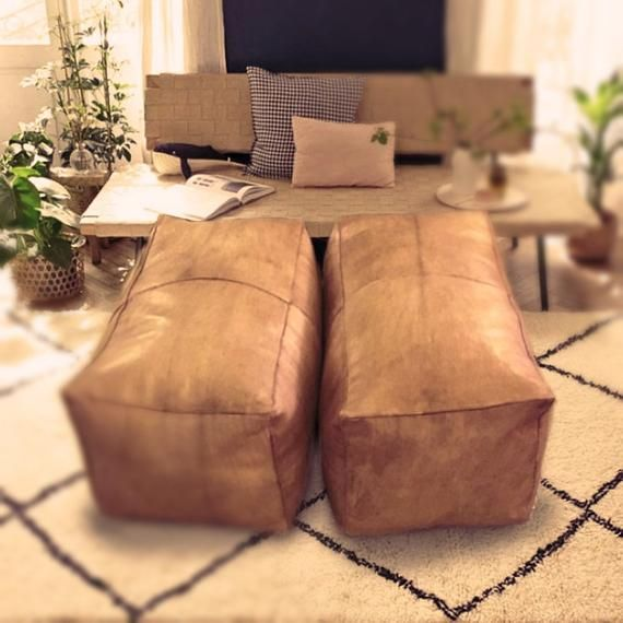 Marvelous Ottomano A Rectangle Real Leather Pouf Handmade Ottoman Ibusinesslaw Wood Chair Design Ideas Ibusinesslaworg