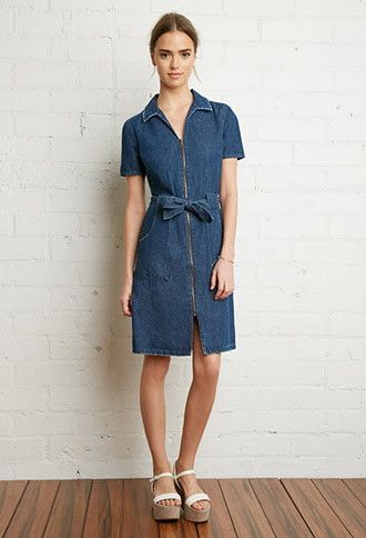 e2d4d156de84 Zipper-Front Denim Shirt Dress | Forever 21 | #thelatest | forever ...
