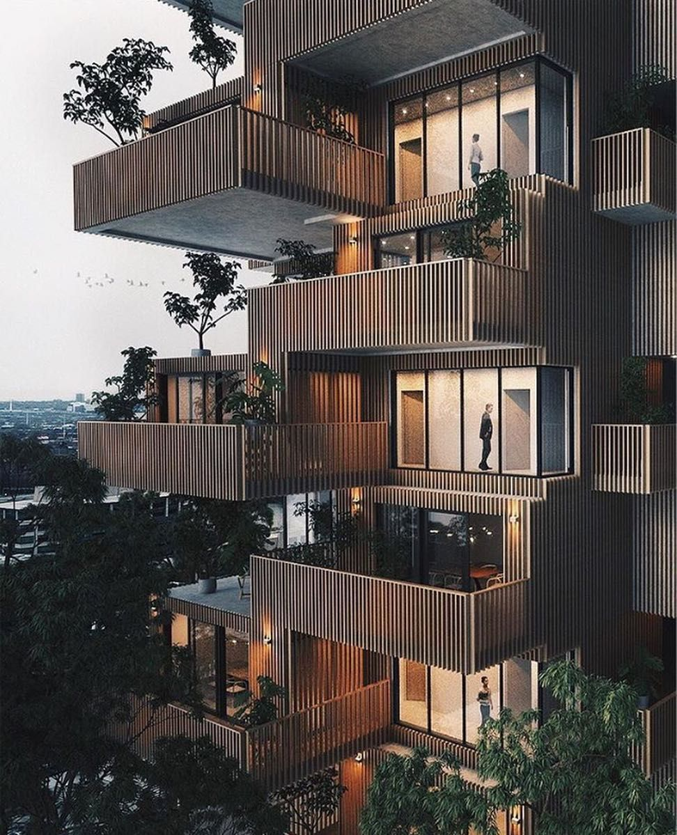 Apartment Balcony: Large Balconies With Green Details 🌿 The 'Apartment Tower
