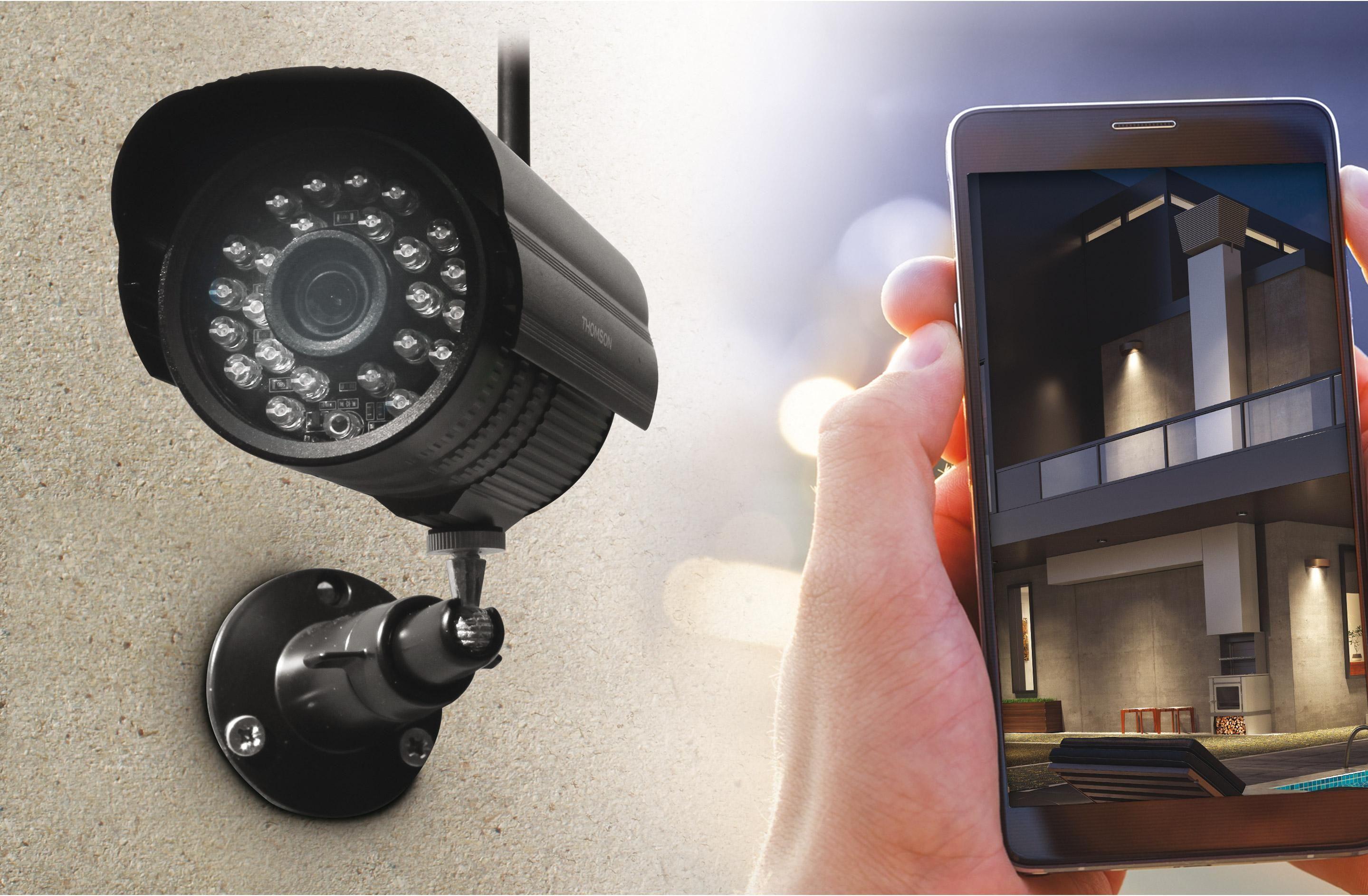 Kit De Videosurveillance Interieur Exterieur Connecte Sans Fil Dvr423b Thomson Camera Surveillance Fil Noir Et Kit