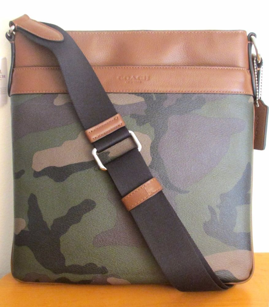 1dca1546d7 COACH MEN 55070 ~ Charles CrOSSBODY BAG Messenger ~ Green CAMO Fatigue PVC  ~ NWT